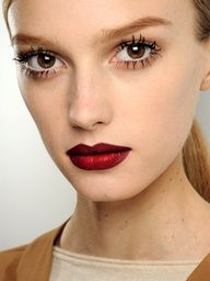 Red lips are very popular with the celebrities!  Matte or glossy lips with minimal natural make up and big lashes are very sassy  #makeup #fall #trends