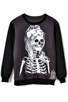 Skeleton Girl Pattern Sweatshirt - OASAP.com