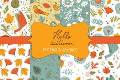 Hello autumn patterns and graphics by Olillia on @creativemarket