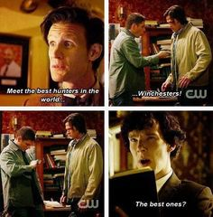 I don't think Sherlock agrees with The Doctor that the Winchesters are the best hunters in the world.<<<Considering dean is pointing a knife at his chest, i think Sherlock thinks they are idiots. Virginia Woolf, Johnlock, Destiel, Mrs Hudson, Fandom Crossover, Harry Potter, Supernatural Fandom, Winchester Supernatural, Sam Winchester