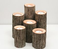 Tree Branch Candle Holders Set of 6 Rustic by WorleysLighting