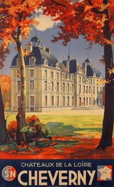 Vintage Travel Poster - Cheverny - Châteaux de la Loire
