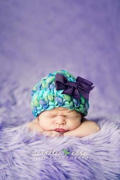 Bulky baby beanies - more examples on site.   Really cute!