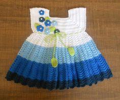 Merserize yazlık örgü  bebek  elbisesi
