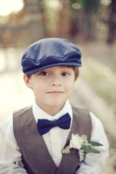 Page boy cap, suspenders, and bow tie for a vintage ring bearer- precious.this is going to be at my wedding! Vest And Bow Tie, Bow Ties, Ring Boy, Ring Bearer Outfit, Wedding With Kids, Summer Wedding, Casual Wedding, Wedding Attire, Boho Wedding