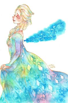 Now, we can see Elsa in different water color perspective in the painting
