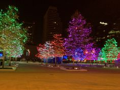 A view of Columbus Commons with the Christmas lighting...