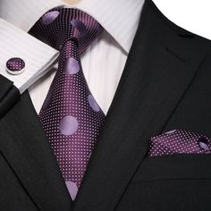 """3PC Silk Necktie Set Color: Purple 59"""" Length, 3.25"""" Width Matching Cufflinks and Pocket Square"""