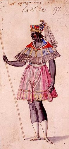 African woman from the Grand Bal de la Douairiere de Billebahaut performed at the French Court in 1626. The King himself, Louis XIII, was one of the dancers. One of the performances took place in the Louvre, which was then the Royal Palace. The three hour ballet showed an elaborate reception and ball, attended by peoples from all parts of the world. This provided a good excuse for a wide range of exotic costumes and styles of dance.