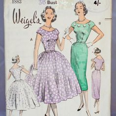 Weigel's Evening Dress Vintage Sewing Pattern Weigel's 1883, Size 16 Medium-Large 1950s Fitted Dress Dance Mother of the Bride by ZollyShoppe on Etsy