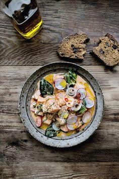 Salmon red coconut curry ceviche