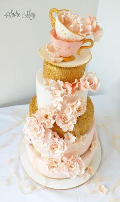 Gold, Blush & Afternoon Tea | Wedding Cake by Sadie May Cakes