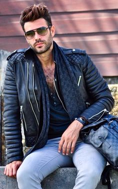 Modified classic biker jacket with tight jeans.