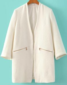 I'm so into collarless coat right now, and this one looks so stylish ...   White Long Sleeve Zipper Pockets Woolen Coat 47.00