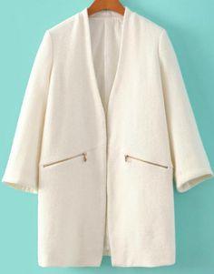 Abrigo de lana bolsillos cremallera-blanco 37.35