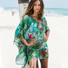 ad6ee94d5b 2018 Chiffon Print Beach Cover up Tassels Sexy Tunics for Beach Women  Bathing suit cover up