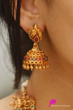 You Can Shop Spectacular Imitation Jewellery Collections Here! Gold Earrings Models, Gold Earrings For Women, Gold Jhumka Earrings, Gold Bridal Earrings, Gold Wedding Jewelry, Jewelry Design Earrings, Gold Earrings Designs, Necklace Designs, Gold Jewelry