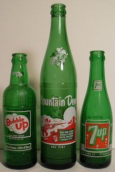 Bubble Up, Mountain Dew, & 7 Up Vintage 1960s Soda Bottles. — Please visit me at: www.facebook.com/jolly.ollie.77
