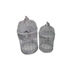 FireFly Off-white (Beige) Metal Round Garden Bird Cages (Set of 2) (Set of 2 Round Garden Bird Cages)