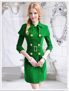 Morpheus Boutique  - Green Double Breasted Velour 3/4 Sleeve Velour Belted Lady Overcoat