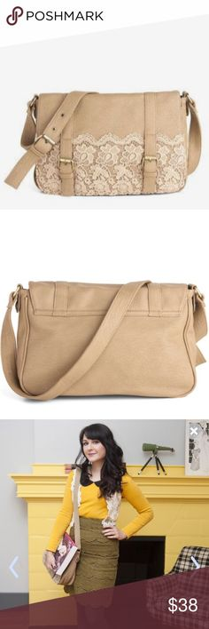 A Latte Like Love Bag Vegan faux leather satchel with crochet lace trim and brass buckle accent straps on front flap and adjustable shoulder strap ModCloth Bags Satchels