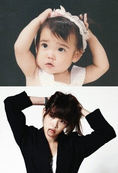 IU 17 years ago: same pose, different feel, unchanging cuteness