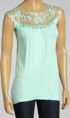 Mint Lace Yoke Top make with rows of trim?