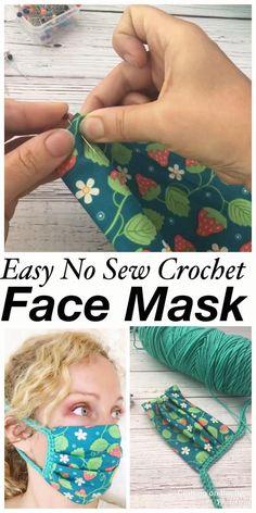 Crochet Mask, Crochet Faces, Crochet Fabric, Cotton Crochet, Easy Face Masks, Diy Face Mask, Mascarilla Diy, Easy Crochet Stitches, Creation Couture