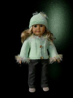 """one of a kind and great for little kids. now for sale on ebay.  TEAL CARDIGAN & HAT 18"""" American Girl AG DOLL clothes hand knit 3 pc sweater set"""