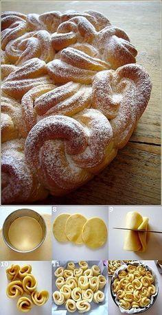 brioche bouclette, via la petite patisserie d'iza. Pastry Recipes, Baking Recipes, Dessert Recipes, Scd Recipes, Think Food, Love Food, Keks Dessert, Bread Shaping, Bread Art