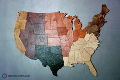 USA Map Puzzle  30 wide & Stained Regions by StevenMatternDesign