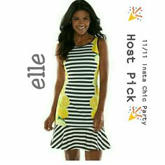 $LAST CALL$ DONATING 10/1 Super Chic lemon lime dress Black and white striped lemon-lime side design ruffle bottom tank dress zippered back knit blend with silky inner lining*NWT* Elle Dresses