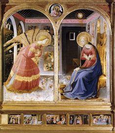 """Fra Angelico (1400-1455) - """"L'Annonciation de San Giovanni Valdarno"""" (1430-1432) - Tempera & or sur panneau de bois, 194 × 194 cm (avec la prédelle) - Musée de la basilique Sainte Marie de la Grâce, San Giovanni Valdarno, province d'Arezzo, Toscane, Italie."""