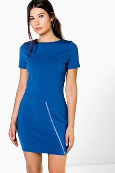 Need a new dress? boohoo's collection of on-trend dresses covers all your plans, from going out styles to day dresses and must-have knit styles. Casual Day Dresses, Blue Dresses, Dresses For Work, Dress For You, New Dress, Zip Front Dress, Polo Neck, Jumper Dress, Shirt Style