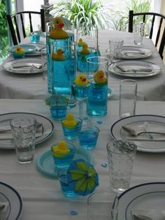 RUBBER DUCKY BABY SHOWER THEME @Jenn L Douglas instead of the stones, you could just do food coloring...