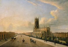 St Peters Church, Brighton. The Steine, Brighton, looking southward, with St. Peters church in the right foreground and the Royal Pavilion and sea in the distance. Numerous figures are visible, some in carriages. The setting sun casts a golden light on the east-facing brickwork.