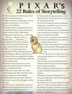 Pixar's 22 Rules of Storytelling... great rules to follow.