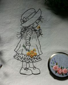 girl with illustration embroidery embroidery Embroidery Needles, Hand Embroidery Patterns, Embroidery Art, Embroidery Applique, Cross Stitch Embroidery, Embroidery Designs, Hungarian Embroidery, Stitch Book, Crochet Yarn