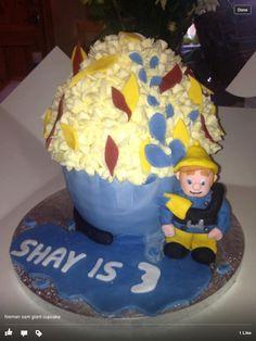 Fireman Sam giant cupcake #fireman #sam #episodes Fireman Sam, Giant Cupcakes, Birthday Parties, Party Ideas, Desserts, Food, Anniversary Parties, Meal, Fete Ideas