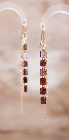 Linear Garnet Earrings in Silver or Gold, January Birthstone, Long Earrings, Deep Red Gemstone Jewelry, Garnet Jewellery, Sexy Earrings