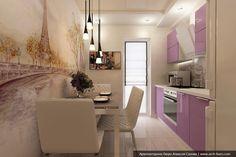 Прямоугольная кухня. Дизайн проект 8, 9 кв.м.