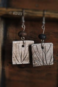 Leaf Prints Ceramic Earrings plant jewelry bohemian necklace Bridal Jewelry Green bridesmaid gifts Rustic Holiday Gift Ideas Nature lovers by WildGeeseART on Etsy https://www.etsy.com/listing/217022095/leaf-prints-ceramic-earrings-plant