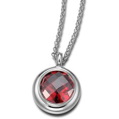 ELLE Jewelry - GALAXY Sterling Silver 20 in. + 2 in. Red CZ Necklace ($190) ❤ liked on Polyvore featuring jewelry, necklaces, cubic zirconia jewelry, cz necklace, cz jewelry, sterling silver necklace and red jewelry