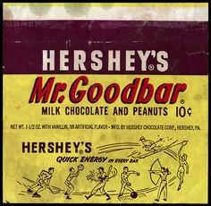 Hershey's - Mr Goodbar 10-cent candy bar wrapper - 1960's by JasonLiebig, via Flickr