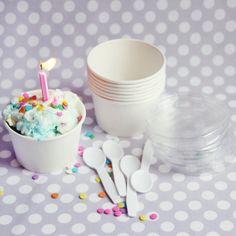 Paper Ice Cream Cups + Lids + Taster Spoons