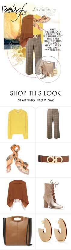 """""""Paris in the fall"""" by no-where-girl ❤ liked on Polyvore featuring Folio, Acne Studios, Balenciaga, Salvatore Ferragamo, Samoon, Sigerson Morrison, Maje, Elizabeth and James, Anne Klein and fallgetaway"""