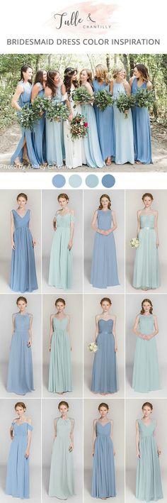 shades of blue long floor length bridesmaid dresses