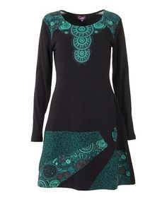 This Black & Emerald Abstract-Accent Sheath Dress is perfect! #zulilyfinds