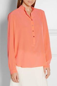 Orange silk crepe de chine blouse by Stella McCartney