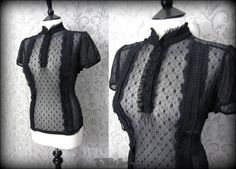 High Collar Black Net Frilly Lace Victoriana Top 14 Elegant Vintage Gothic Doll   THE WILTED ROSE GARDEN